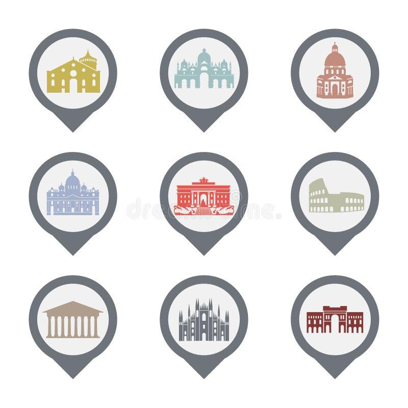 Grupo de símbolos de Itália, marcos em preto e branco Ilustração do vetor Roma, Veneza, Milão, Itália ilustração stock