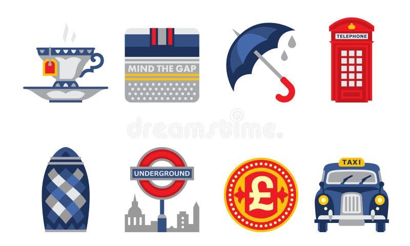 Grupo de símbolos de Londres, elementos de Inglaterra, copo de chá, guarda-chuva, cabine de telefone vermelha, ilustração do veto ilustração royalty free