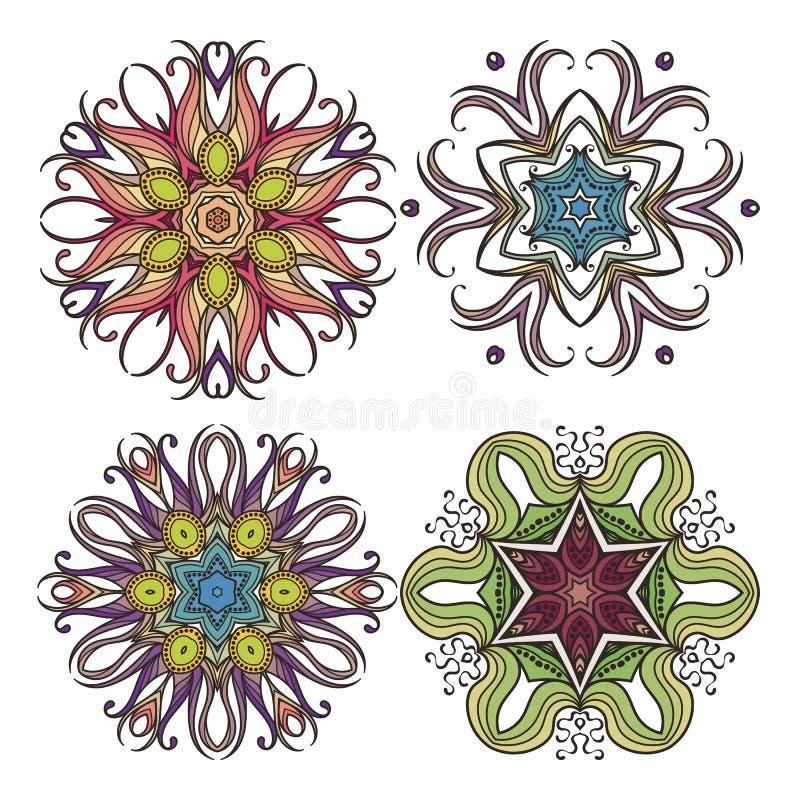 Grupo de símbolos ornamentado da mandala do vetor Tatuagem do laço de Mehndi Weave de Art Nouveau ilustração stock