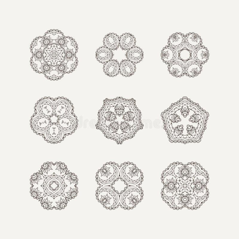 Grupo de símbolos ornamentado da mandala do vetor Tatuagem do laço de Mehndi Weave oriental ilustração royalty free