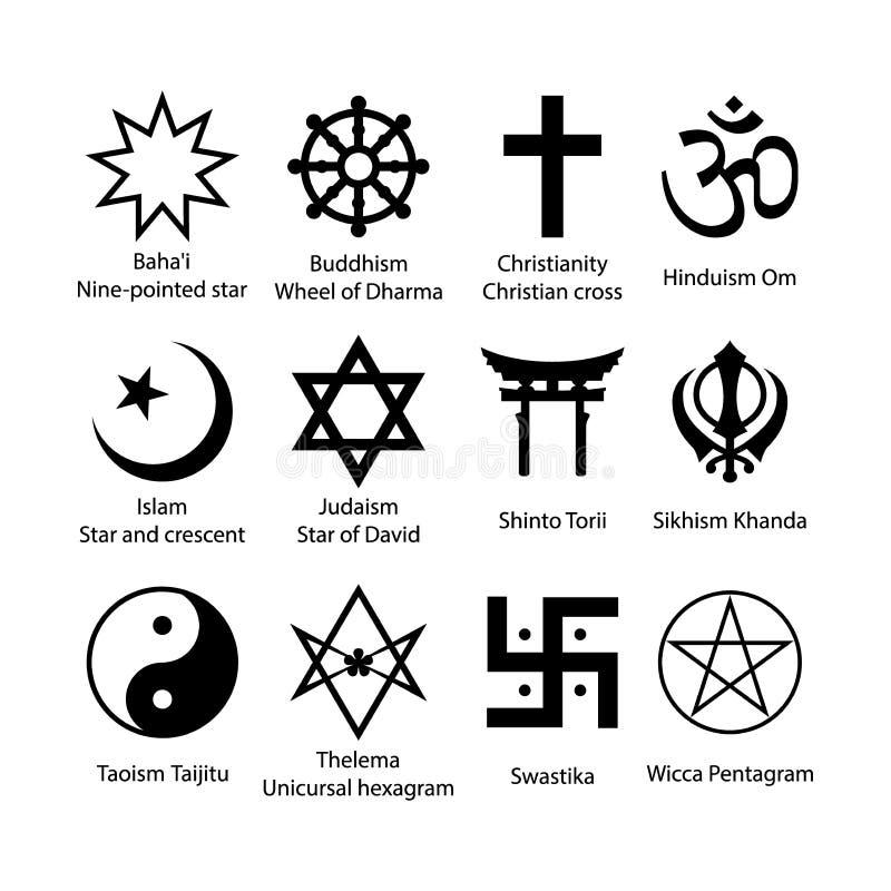 Grupo de símbolos religioso Grupo preto simples do ícone dos sinais da religião ilustração royalty free