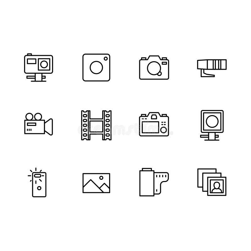 Grupo de símbolos simples do ícone do ajuste da câmera do vídeo e da foto Contém a ação do ícone, móbil, foto, câmara de vídeo re ilustração do vetor