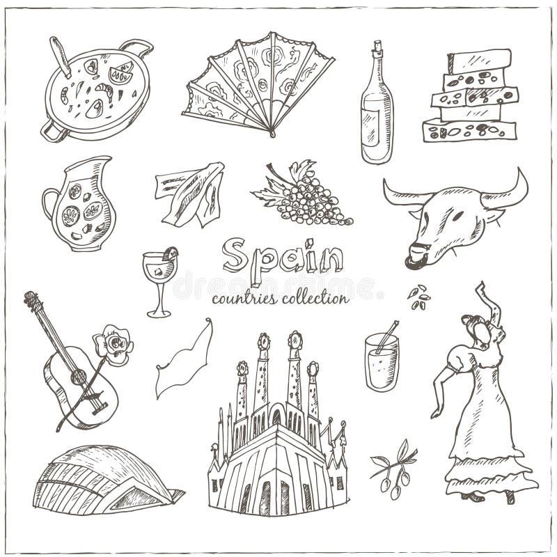 Grupo de símbolos tirado mão da Espanha da garatuja ilustração stock