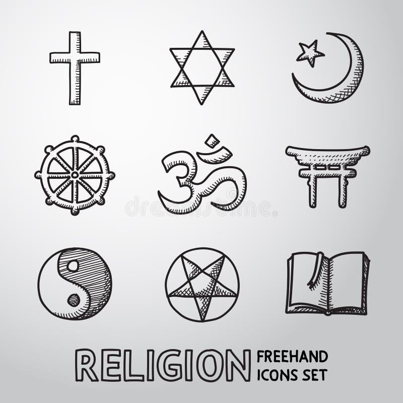 Grupo de símbolos tirado mão da religião do mundo Vetor ilustração do vetor