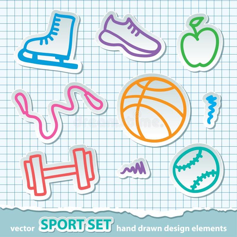 Entregue etiquetas tiradas do esporte, vetor eps 10 ilustração royalty free