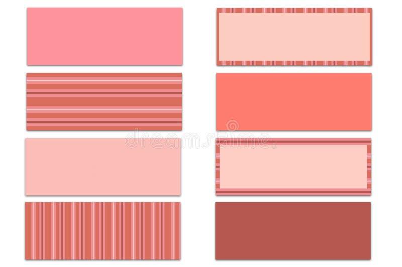 Grupo de 8 sólidos cor-de-rosa & de tampas temáticos do espaço temporal de Facebook das listras isolados no branco ilustração do vetor