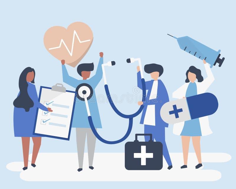 Grupo de saúde levando do pessoal médico - ícones relacionados ilustração do vetor