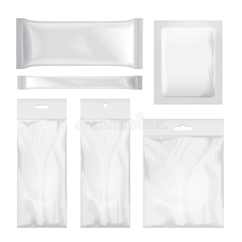 Grupo de saco vazio transparente e branco da folha que empacota para o alimento, petisco, café, cacau, doces, biscoitos, micropla ilustração royalty free