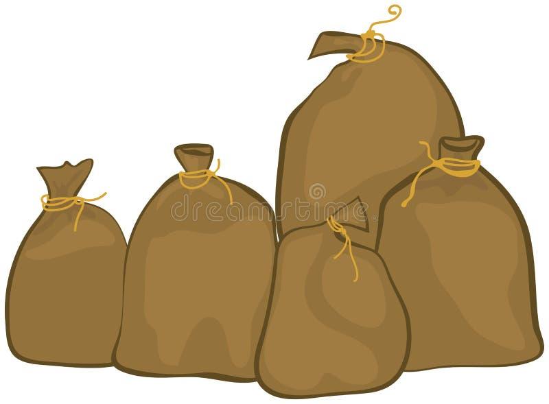 Grupo de sacos ilustração stock