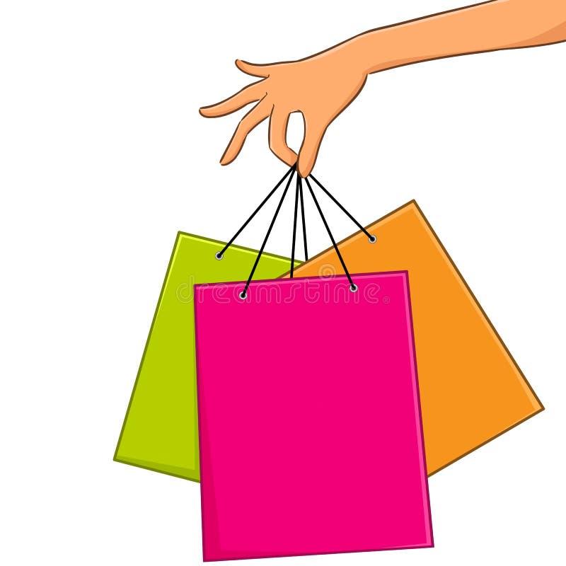 Grupo de sacos de compras vazios coloridos ilustração do vetor