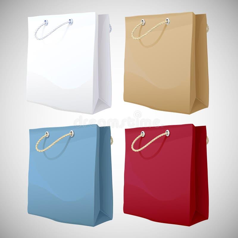 Grupo de sacos de papel ilustração royalty free