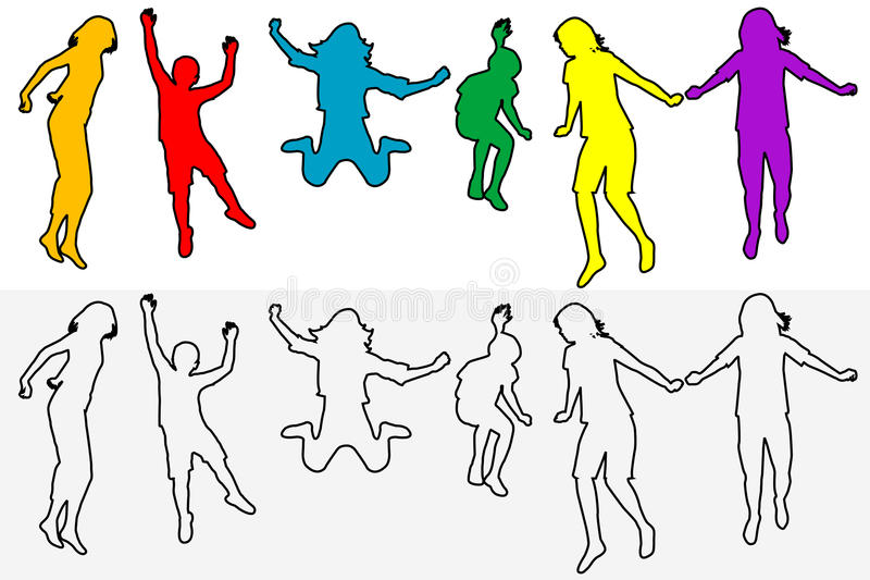 Grupo de salto das silhuetas do esboço das crianças ilustração royalty free
