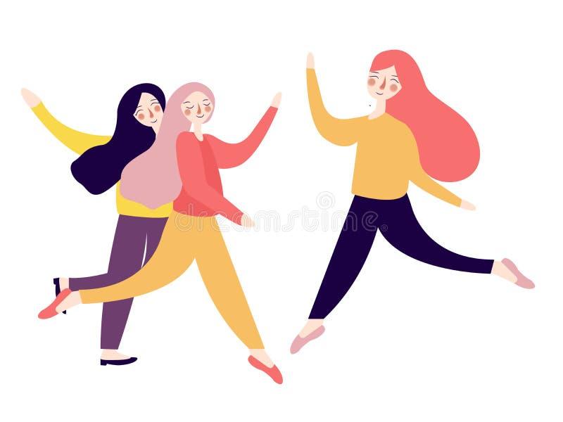 Grupo de salto emocionado feliz de las mujeres jovenes estilo plano flúido juguetón brillante del ejemplo de color ilustración del vector