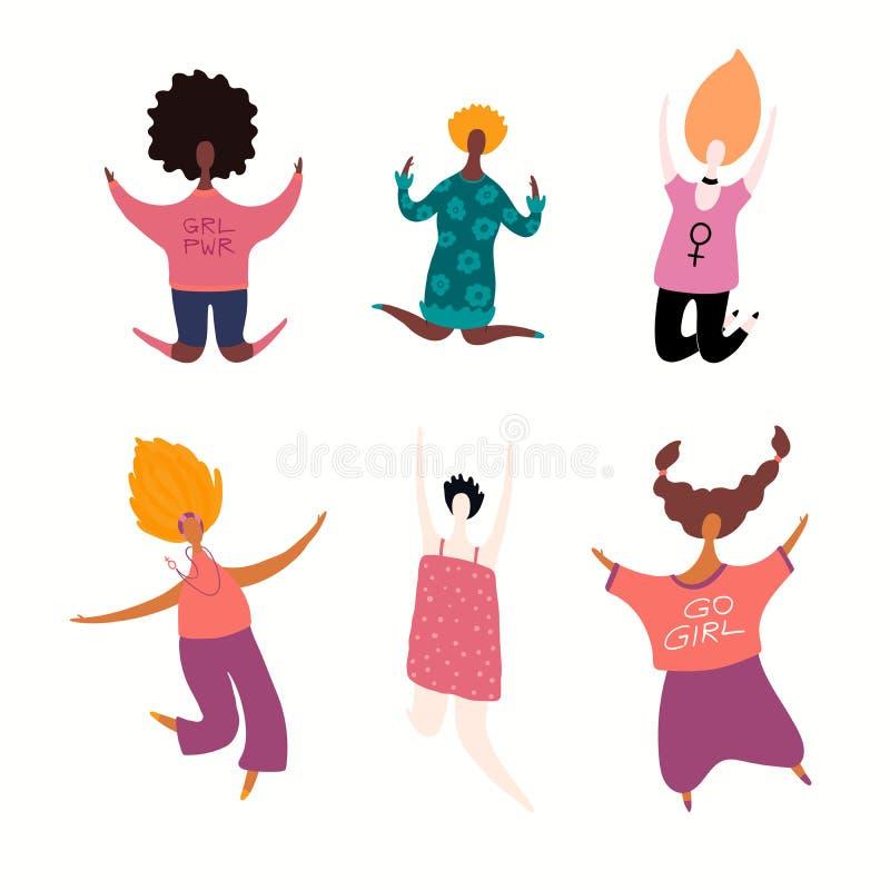 Grupo de salto feliz das mulheres ilustração royalty free