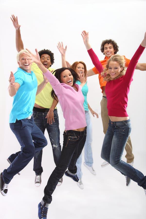 Grupo de salto retirado dos jovens imagens de stock