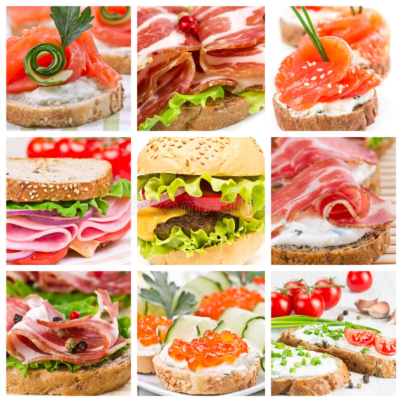 Grupo de sanduíches imagens de stock royalty free