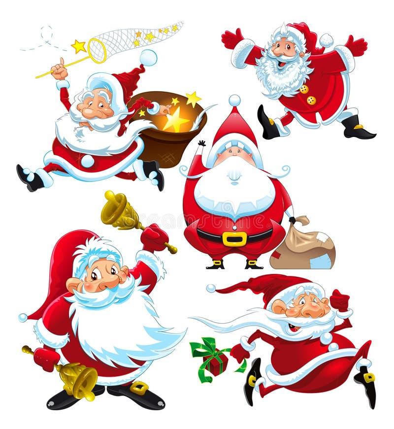 Grupo de Santa Claus engraçada ilustração do vetor