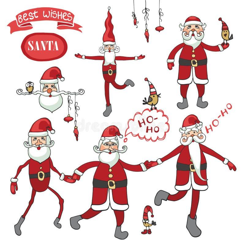 Grupo de Santa Claus Figura lisa cômico ilustração do vetor