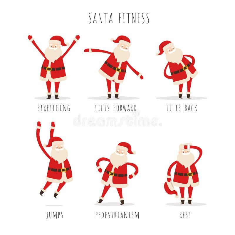 Grupo de Santa Fitness ativa no fundo branco ilustração do vetor