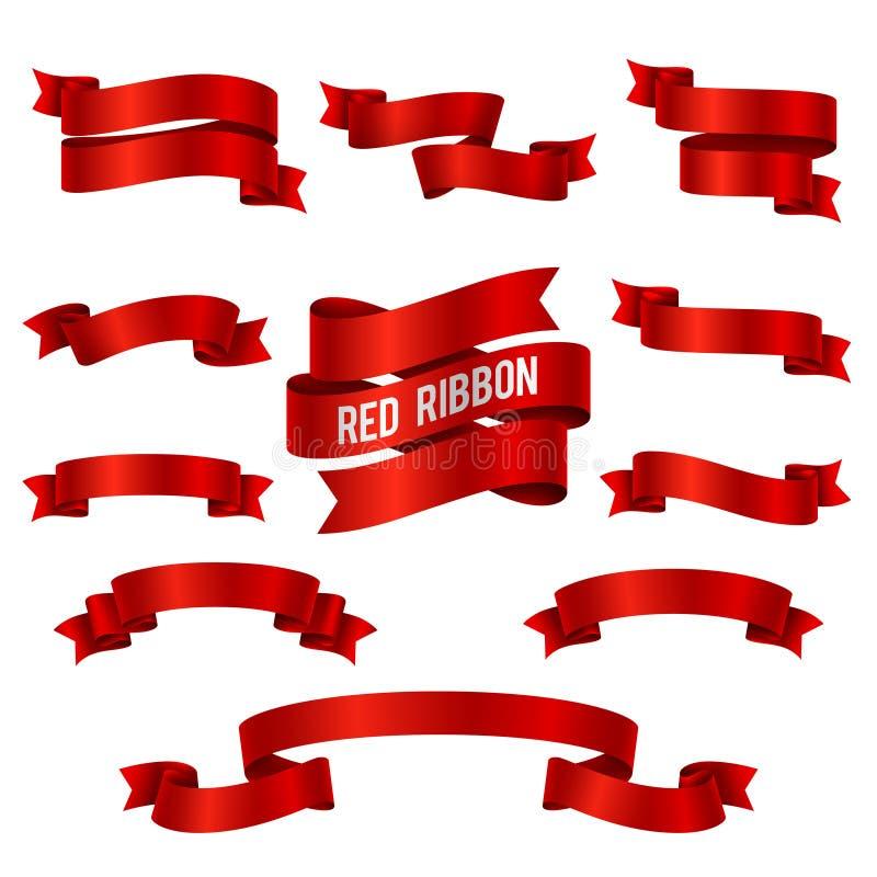 Grupo de seda do vetor das bandeiras da fita do vermelho 3d isolado ilustração do vetor