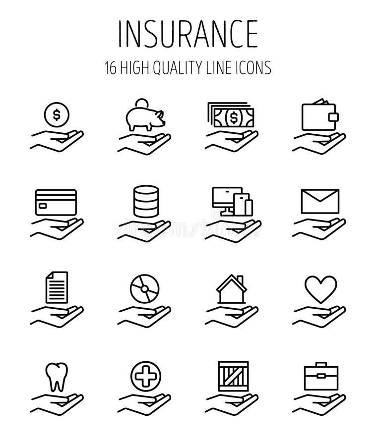 Grupo de seguro na linha estilo fina moderna ilustração do vetor