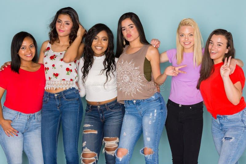Grupo de seis amigos adolescentes diversos foto de stock