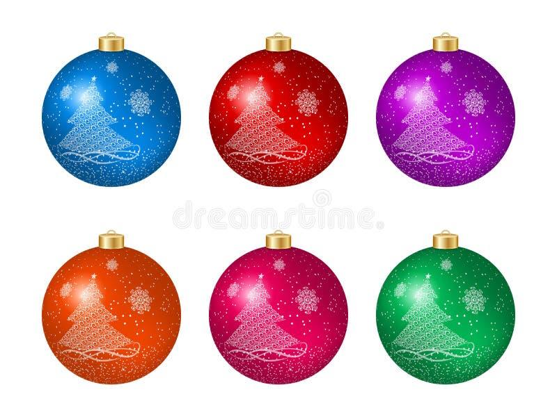 Grupo de seis bolas coloridos do Natal com a decoração da árvore de Natal ilustração do vetor