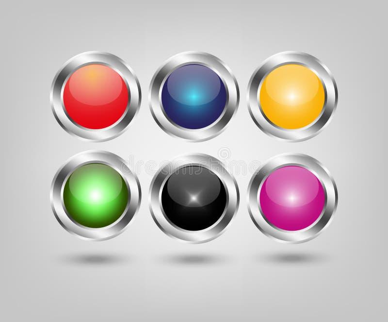 Grupo de seis botões lustrosos na base do metal ilustração stock