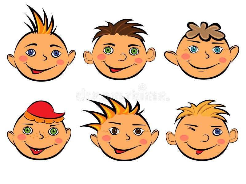 Grupo de seis caras engraçadas dos meninos ilustração stock