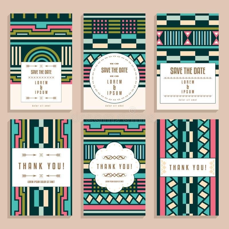 Grupo de seis cartões de casamento com Art Deco Ornaments ilustração do vetor