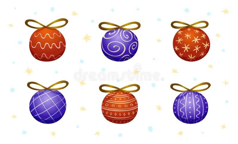 Grupo de seis decorações decorativas da árvore de Natal ilustração do vetor