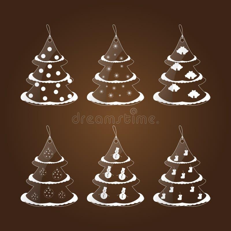 Grupo de seis etiquetas de vidro sob a forma de uma árvore de Natal ilustração royalty free