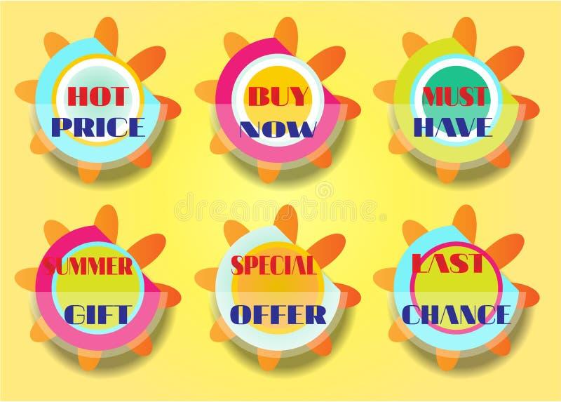 Grupo de seis etiquetas, texto - o melhor preço, compra agora ilustração royalty free