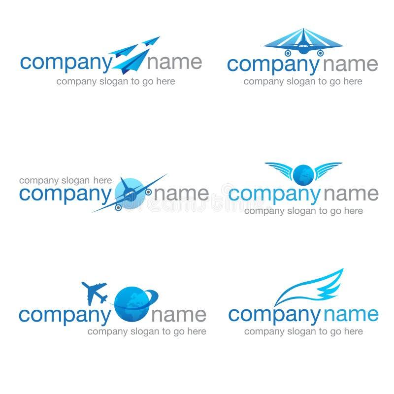 Grupo de seis logotipos do transporte e do curso ilustração stock