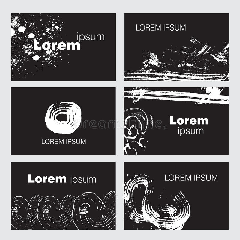 Grupo de seis moldes criativos do cartão ilustração stock