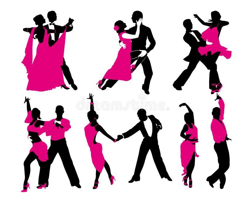 Grupo de seis pares de dança ilustração royalty free