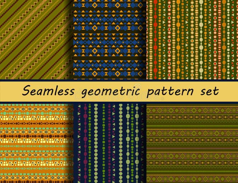 Grupo de seis testes padrões étnicos coloridos ilustração royalty free