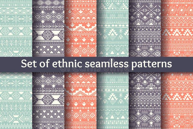 Grupo de seis testes padrões sem emenda étnicos ilustração do vetor