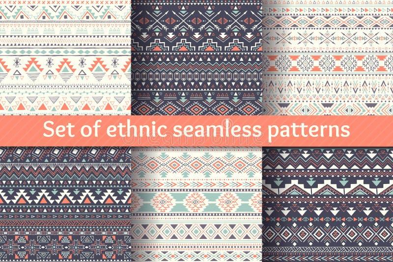 Grupo de seis testes padrões sem emenda étnicos ilustração stock