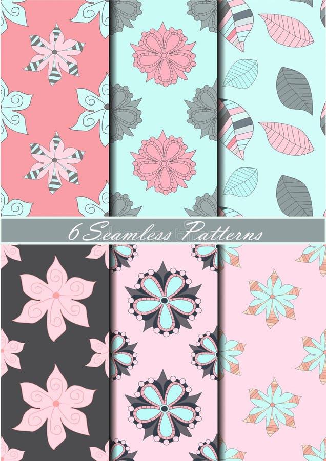 Grupo de seis testes padrões sem emenda com as flores em cores cor-de-rosa, azuis e cinzentas Fundo do vetor ilustração stock
