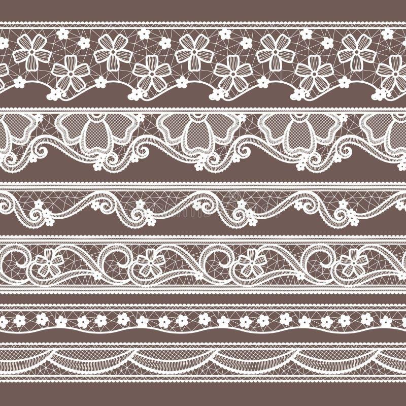 Grupo de seis testes padrões sem emenda horizontais das fitas do laço Ilustrações do bordado do vetor ilustração stock