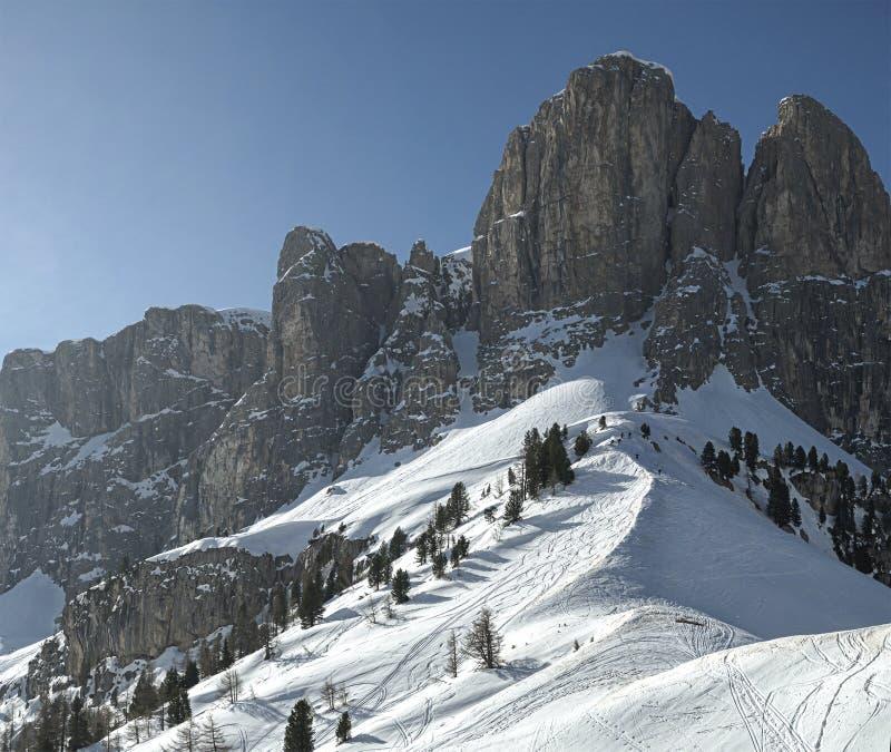 Grupo de Sella, vista da passagem de Gardena - Dolomiti imagens de stock royalty free