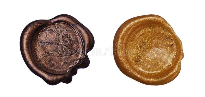 Grupo de selo dourado da cera imagem de stock