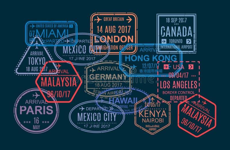 Grupo de selo, impressão, marcas no passaporte estrangeiro para o curso ilustração royalty free