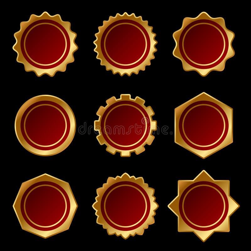 Grupo de selo vazio dourado da cera do selo Vetor ilustração stock