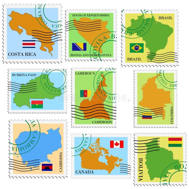 Grupo de selos ilustração stock