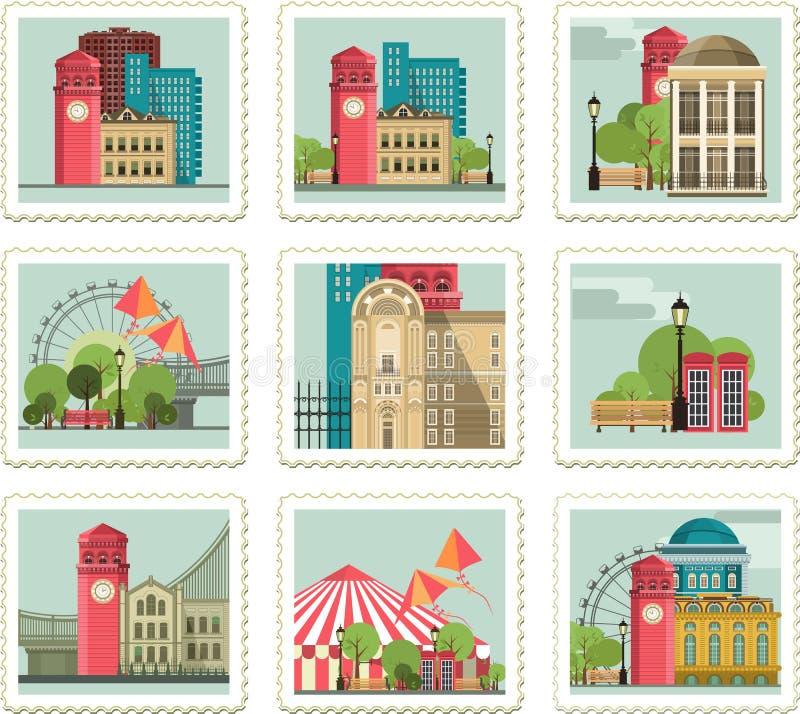 Grupo de selos com cidades ilustração royalty free