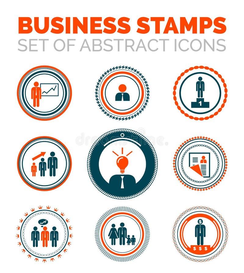 Grupo de selos de negócio ilustração stock