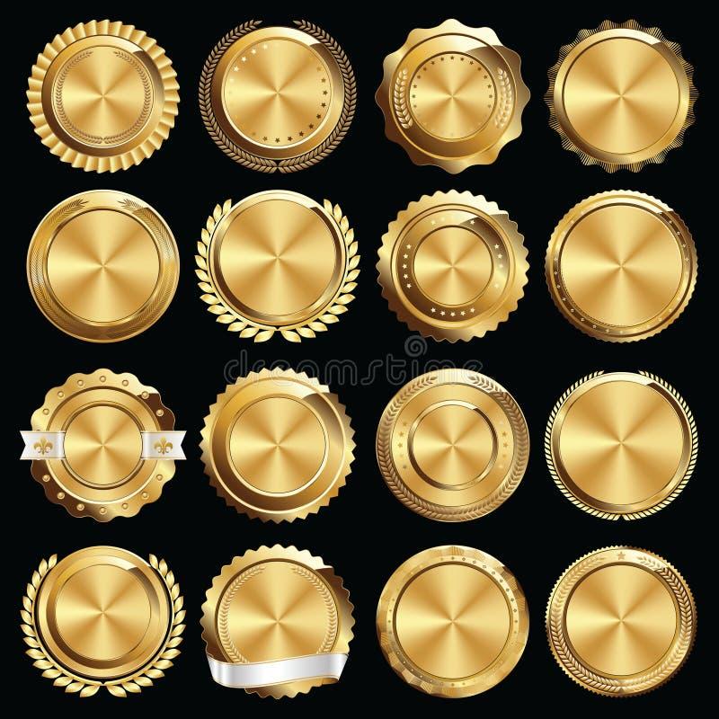 Grupo de selos e de crachás do certificado do ouro ilustração royalty free