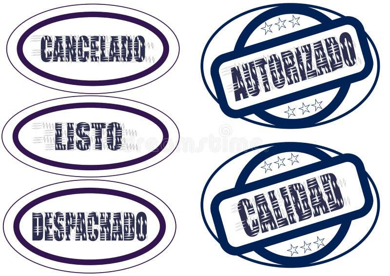 Grupo de selos no espanhol ilustração do vetor